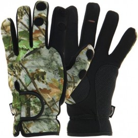 Neoprene Camo 'Fold Over Finger' Gloves - XL